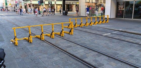 Diese Terrorsperren wurde am Wochenende in Linz getestet.