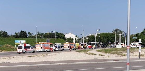 Die Rettung war mit mehreren Fahrzeugen im Einsatz, betreute die (leicht) verletzten Schüler.