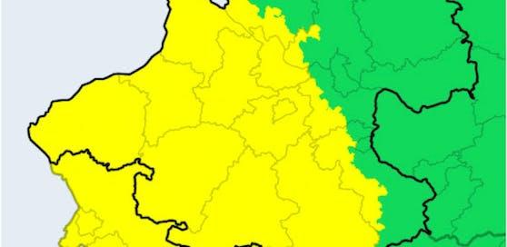 Die gelben Flächen zeigen, wo es heute noch Unwetter geben wird.