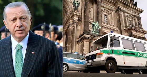 """Anschlag """"falscher"""" Polizisten auf Erdogan? Nach dem vermeintlichen Verschwinden eines Streifenwagens ging es in Berlin drunter und drüber."""