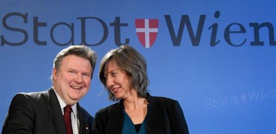 Bürgermeister Michael Ludwig (SPÖ, li.) und Vize-Bürgermeisterin Birgit Hebein (Grüne) schnürten gemeinsam mit Wirtschaftsstadtrat Peter Hanke (SPÖ) ein Hilfspaket für Wiener Unternehmen.