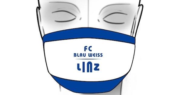 Auch bei Blau Weiß Linz gibt es nun eine Schutzmaske in den Klubfarben.