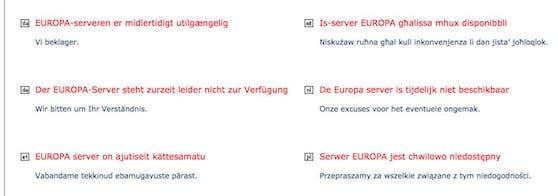 Nichts geht mehr: Der EU-Server war am Freitag lahmgelegt.