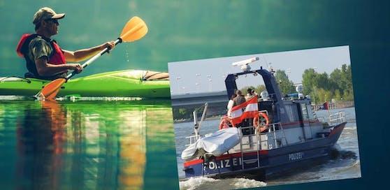 Zwei Kanu-Fahrer stürzten in die Donau, eine Motorboot-Streife der Polizei konnte sie retten.