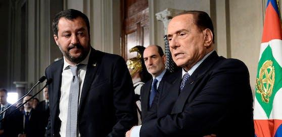 Lega-Chef Matteo Salvini (l.) und Silvio Berlusconi bei den Regierungsverhandlungen.