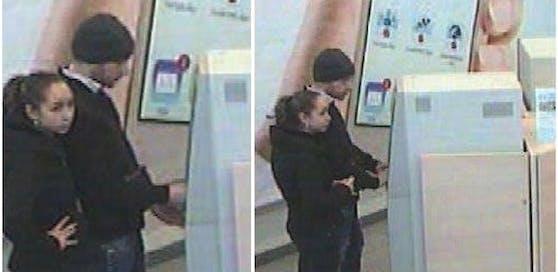 Während er Geld abhob, hielt sie Ausschau.