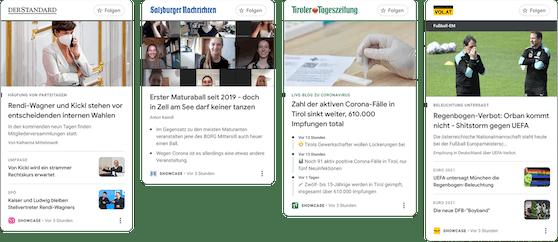 Ein Beispiel dafür, wie News Showcase Panels bei einigen Google News Showcase Partnern in Österreich aussehen.