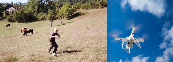 Panik: Der Landwirt hat das unbekannte Flugobjekt entdeckt und zückt das Seil ...