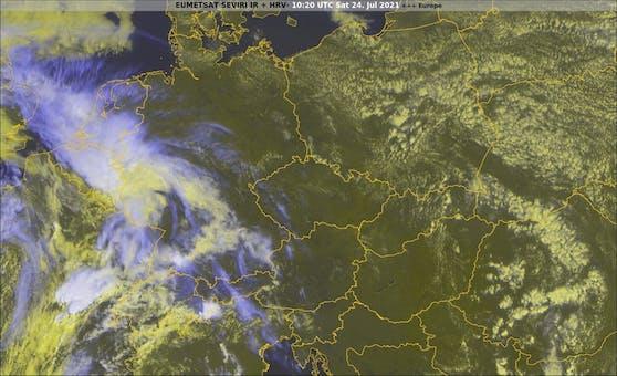 Aktuelles Satellitenbild von Mitteleuropa.