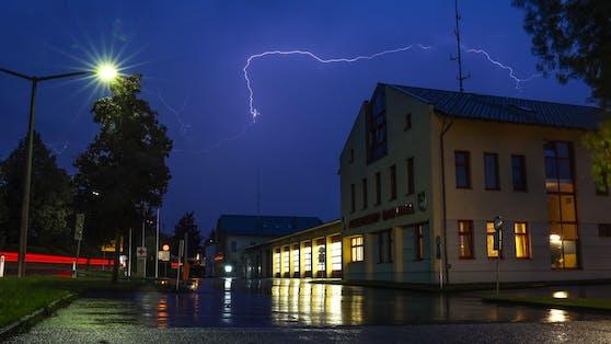Blitz über Bad Hall in Oberösterreich
