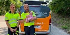 Asfinag-Mitarbeiter retteten Mama und Baby vor Hitze