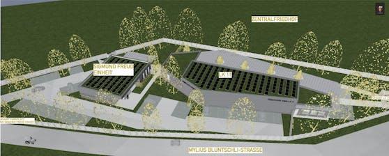 Westlich der neuen Leichenhalle (LK11) entsteht ein Obduktionsraum (Sigmund Freud-Einheit) für Körperspender.