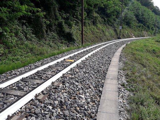 Auf Teilen der Strecke der Mariazellerbahn wurden die Schienen weiß lackiert.