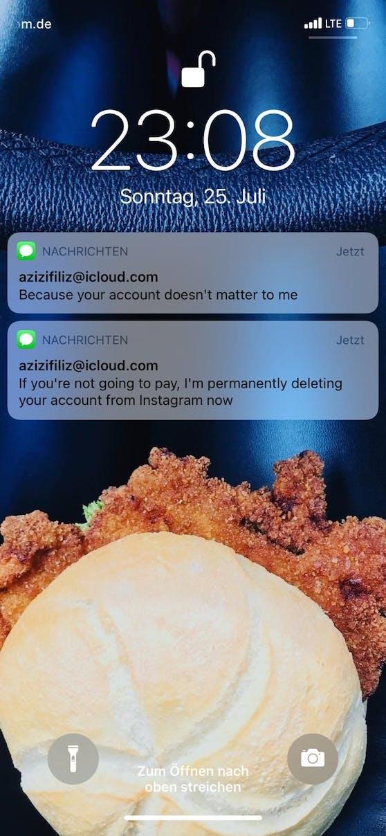 Diese Droh-SMS bekam Martina Reuter kurz nach dem Hacker-Angriff
