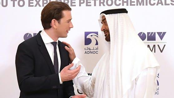 Bundeskanzler Sebastian Kurz mit Scheich Mohammed Bin Zayed al Nahyan, den Kronprinzen von Abu Dhabi, im Jahr 2019.