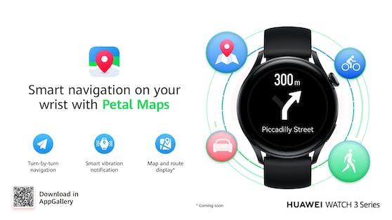 Petal Maps kann ab sofort direkt von der Huawei AppGallery auf die Huawei Watch 3 heruntergeladen werden.