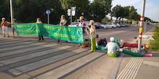Klima-Aktivisten blockieren Straßenbau in Wien
