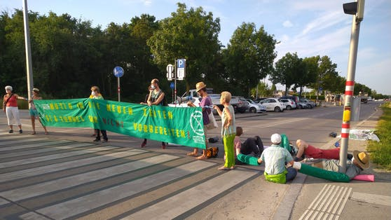 Am Mittwoch wurde ein Straßenbau in der Donaustadt blockiert