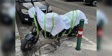 Wiener bastelt Sturmschutz für sein Bike aus Bettdecke