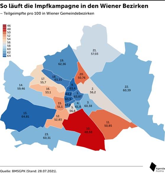 So läuft die Impfkampagne in den Wiener Bezirken.