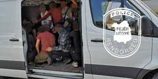 Terroralarm an Grenze! Maschinenpistole in Schlepperbus