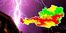 Höchste Warnstufe! Neue Unwetter rollen über Österreich