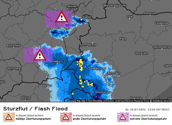 """Wegen der bereits starken Regenfälle am Freitag warnt Kachelmannwetter nun vor """"extremer Überflutungsgefahr"""" im Raum Graz und im südlichen Niederösterreich."""