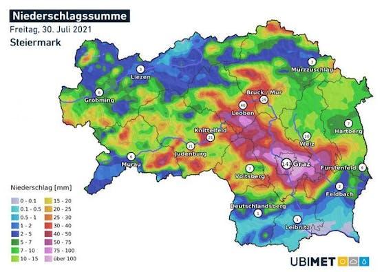 Analyse der Gesamtniederschlagsmenge am Freitag, 30. Juli 2021, in der Steiermark.