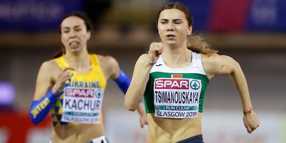 Krystsina Tsimanouskaya beim 60-Meter-Sprint 2019 in Schottland