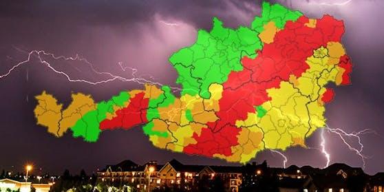 Weiter herrscht die zweithöchste Unwetterwarnstufe in Österreich.
