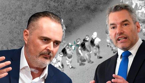 Der Streit zwischen Burgenland-Chef Doskozil und Innenminister Nehammer wegen der Flüchtlingspolitik nimmt Fahrt auf.