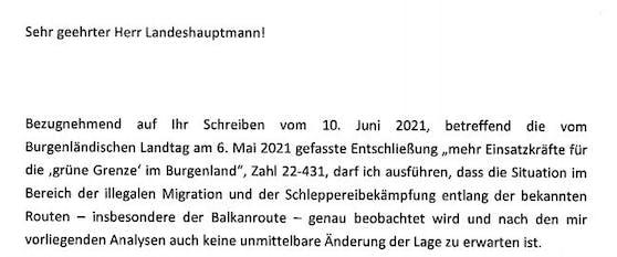 """""""Keine unmittelbare Änderung der Lage"""": Dieser Nehammer-Brief erzürnt Doskozil."""