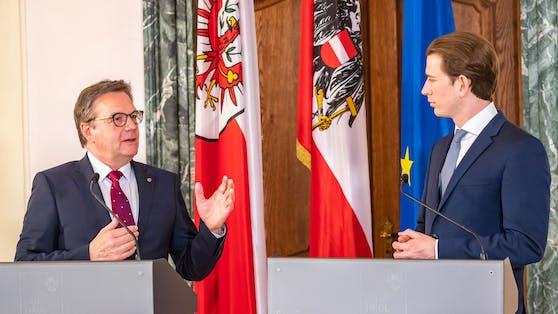 Nach der Ischgl-Kommission sieht jetzt auch ÖVP-Landeshauptmann Günther Platter (Links) Bundeskanzler Sebastian Kurz als Auslöser für das Ischgl-Chaos.