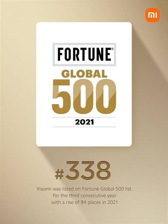 Xiaomi rückt auf Platz 338 der Fortune Global vor.