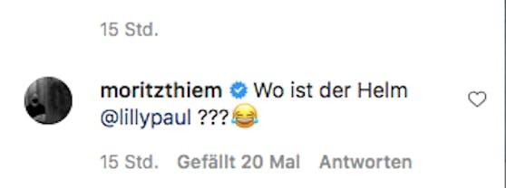 Moritz Thiem fragt nach, wo denn Lilis Helm geblieben ist.