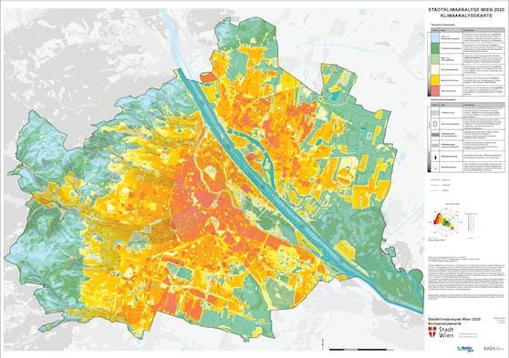 Die neue Analyse zeigt: Je weiter man nach Wien hinein kommt, desto heißer wird das Mikroklima.