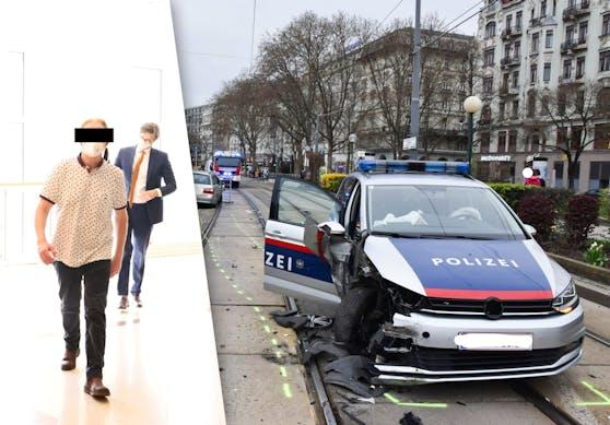 Der Brite vor Gericht, das beschädigte Polizeiauto am Tatort Schwedenplatz
