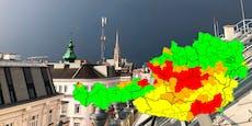 Warnstufe Rot – Erste Gewitter ziehen über Österreich