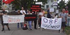 Corona-Leugner demonstrieren vor ORF-Zentrum in Wien