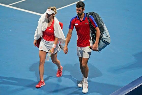 Nina Stojanovic konnte mit Novak Djokovic nicht um Edelmetall kämpfen.