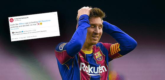 Der Tweet von Red Bull Salzburg nach dem Barcelona-Aus von Lionel Messi.