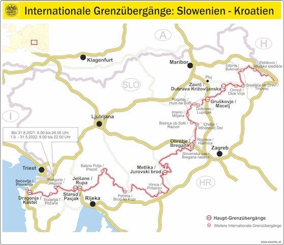 Internationale Grenzübergänge: Slowenien-Kroatien