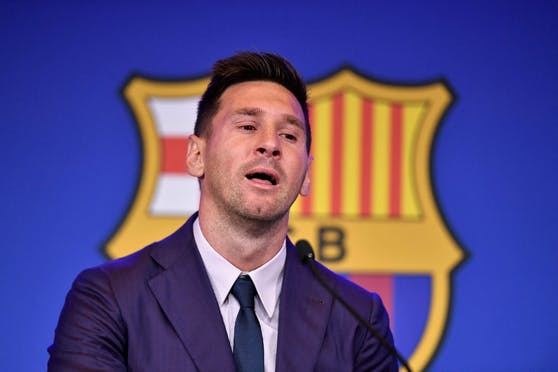 Lionel Messi bei seiner Abschieds-Rede im Camp Nou.