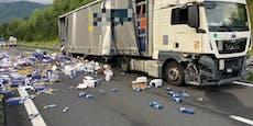 Nudeln nach Lkw-Crash in Kärnten auf Autobahn verteilt