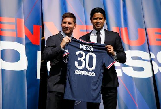 Lionel Messi und Paris-Boss Nasser Al-Khelaifi