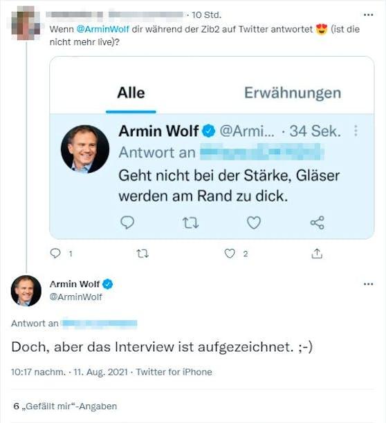 Noch während der ZIB2 antwortete Wolf auf Twitter