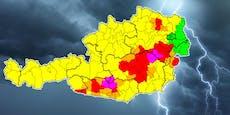 Höchste Unwetter-Warnstufe in Österreich ausgerufen
