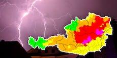 Vorsicht! Höchste Unwetter-Warnstufe Violett in NÖ
