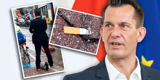 Hat Gesundheitsminister Wolfgang Mückstein einfach einen Tschick-Stummel auf die Straße geworfen?