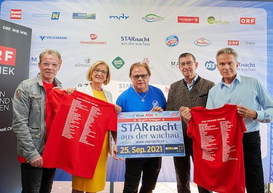 Günter Grasmuck, Landeshauptfrau Johanna Mikl-Leitner, Ewald Pfleger, Bürgermeister Erich Polz und Moderator Alfons Haider